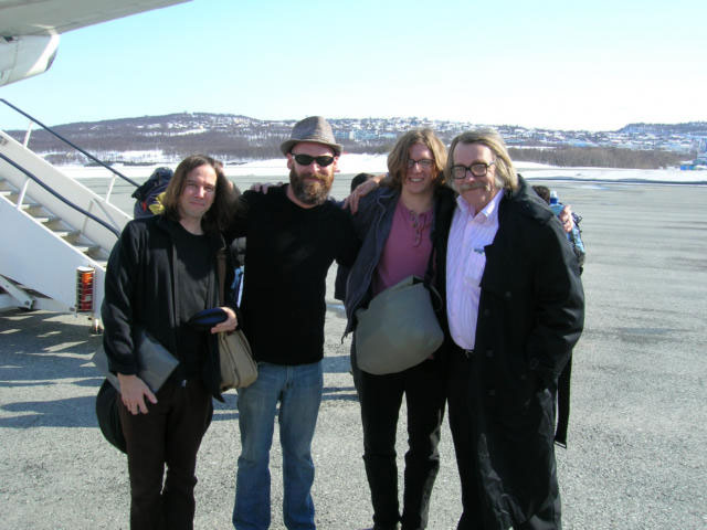 Dave and the band at the airport in Tromso